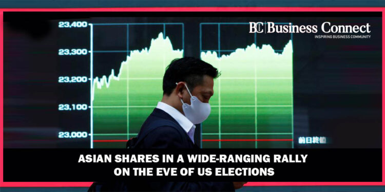 Asian shares in a wide-ranging rally on the eve of US elections