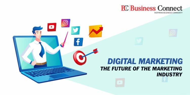 digital marketing social media with man laptop symbol
